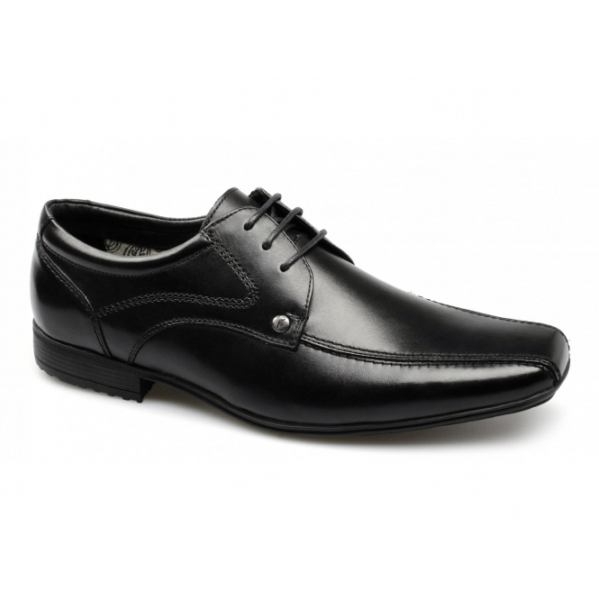 Front SNOWDEN Mens Leather Lace-Up Shoes Black