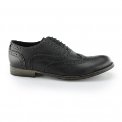 Base London SNUG Mens Soft Leather Brogue Shoes Black