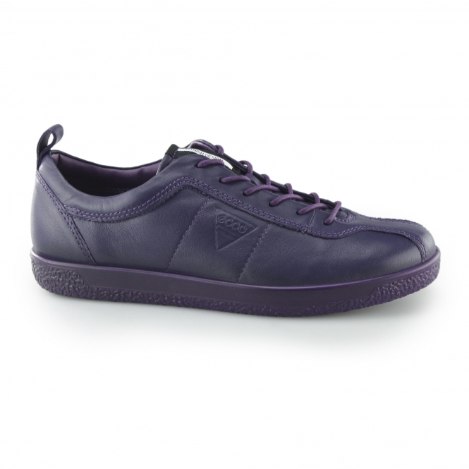 7adadb740d2d ECCO SOFT 1 Ladies Leather Retro Lace Up Trainers Crown Jewel