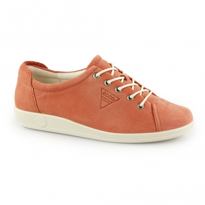 47e1a7d34c642 ECCO SOFT 2.0 Ladies Leather Lace Up Trainers Coral | Shuperb