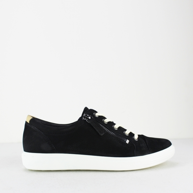 100% top quality factory price run shoes SOFT 7 Ladies Leather Zip Casual Trainers Black