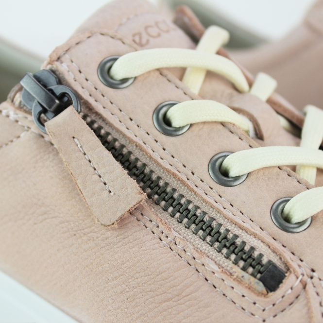 6068c805a3 ECCO SOFT 7 Ladies Real Leather Zip Casual Trainers Rose Dust | Shuperb