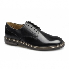 SOREN Mens Leather Wide Fit Lace-Up Shoes Black