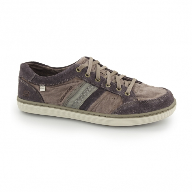 Skechers SORINO OSTIO Mens Canvas/Suede Lace-Up Trainers Brown