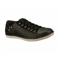 SORINO PANTALONE Mens Leather Relaxed Fit Lace-Up Trainers Black