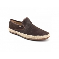 Base London SOUND Mens Suede Slip On Espadrille Shoes Brown