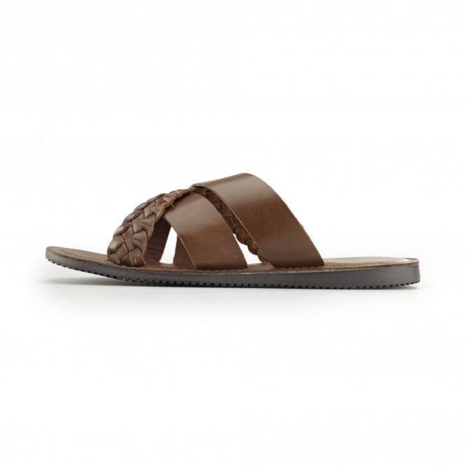 5f531542e28b Red Tape SPA Mens Leather Mule Cross Strap Sandals Tan