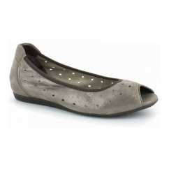 SPECIAL EDITION Ladies Leather Slip On Pumps Cafu Silver