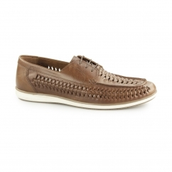 SPINNEY Mens Leather Weave Lace Up Loafers Tan