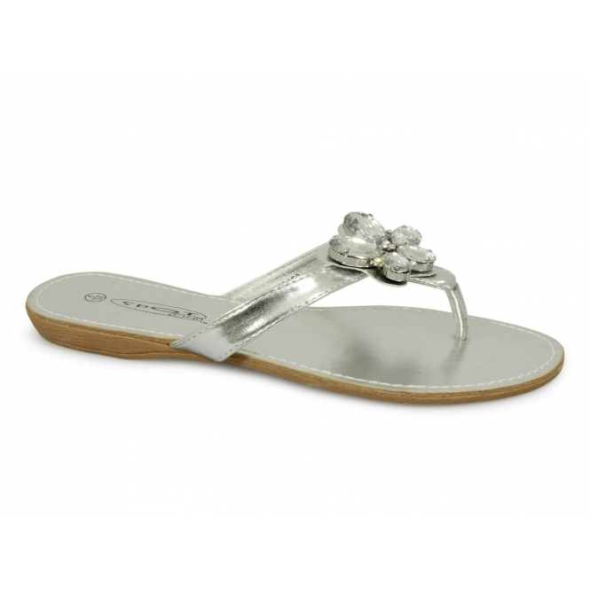 eea7f9ac1 Spot On Ladies Slip On Formal Casual Brooch Sandals Silver
