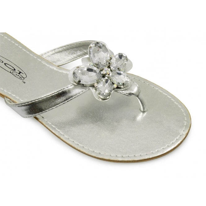03a4d145e2f9e0 Spot On Ladies Slip On Formal Casual Brooch Sandals Silver