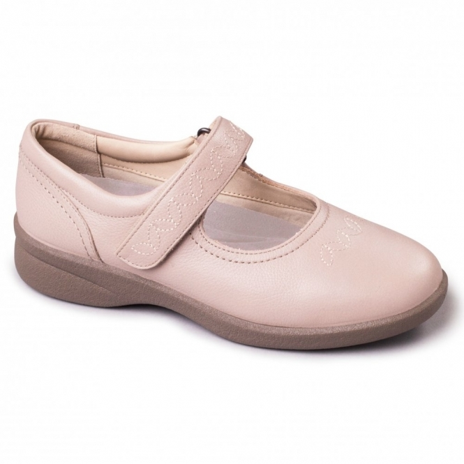 Padders SPRITE 2 Ladies Embroidered EEE/EEEE Wide Touch Fasten Shoes Nude