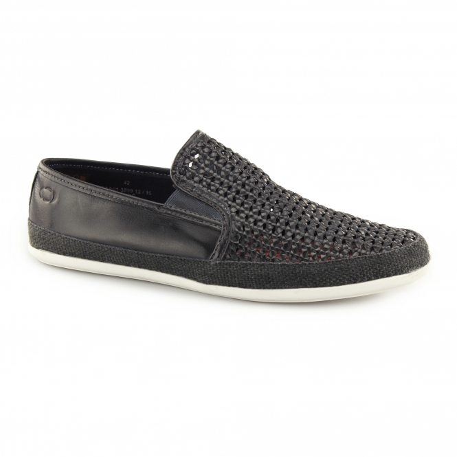Base London STAGE WEAVE Mens Woven Leather Espadrille Shoes Navy
