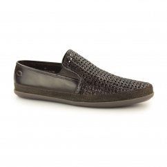 Base London STAGE WEAVE Mens Woven Leather Espadrille Shoes Brown