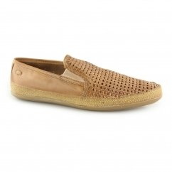 STAGE WEAVE Mens Woven Leather Espadrille Shoes Tan