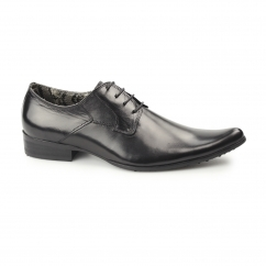 STARR Mens Leather Winklepickers Shoes Black