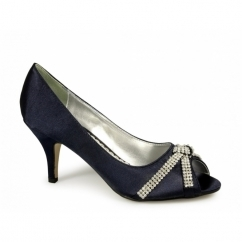STELLA Ladies Low Heel Satin Diamante Shoes Navy
