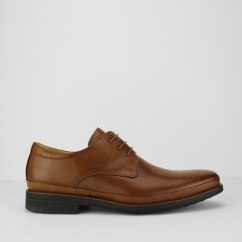 ANGELO Mens Leather Derby Shoes Cognac