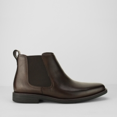 Steptronic AUSTIN Mens Waxed Leather Chelsea Boots Brown