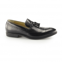 FLECK Mens Leather Brogue Tassel Loafers Black