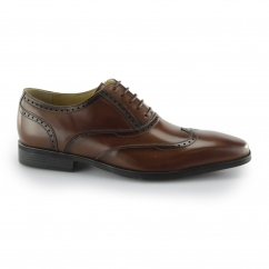 Steptronic HASTINGS Mens Leather Smart Brogue Shoes Cognac | Shuperb