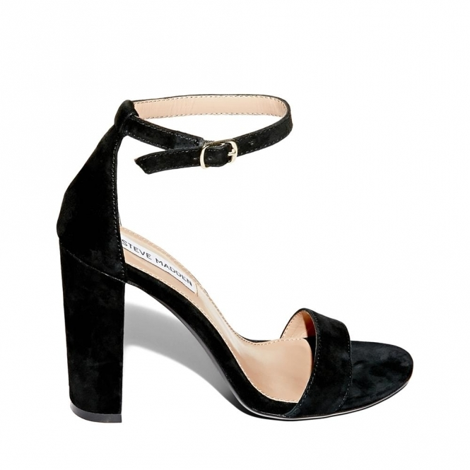 55b99fd7883 CARSON Ladies Suede Block Heel Sandals Black