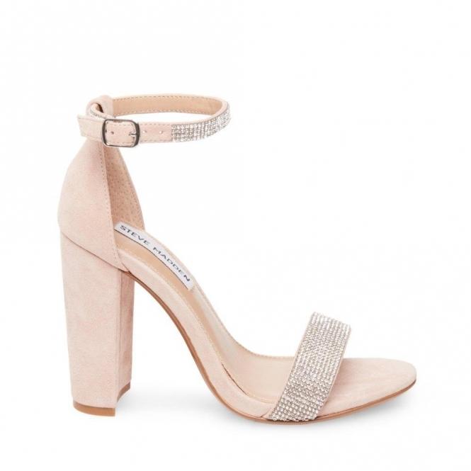 5a9ed39d0ae CARSON-R Ladies Rhinestone Block Heel Sandals Beige