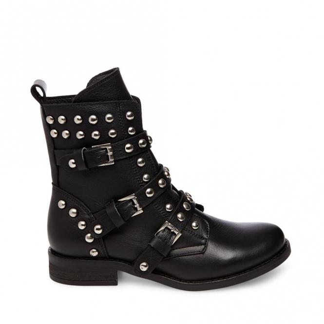 cbcb34ac9bd Steve Madden SPUNKY Ladies Leather Studded Ankle Boots Black