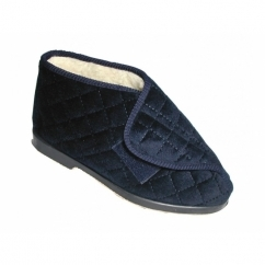 STOCKHOLM Ladies Wide Fitting Warm Lined Bootie Slippers Navy