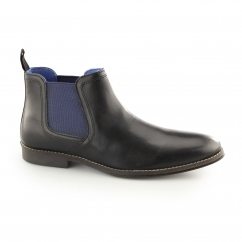 STOCKWOOD Mens Leather Chelsea Boots Black/Blue