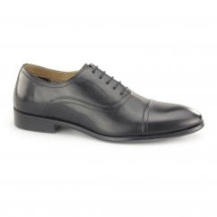 STOWE Mens Leather Toe Cap Oxford Shoes Black