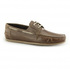 STRATTON Mens Leather Lace Boat Shoes Tan