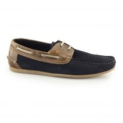 STRATTON Mens Suede Leather Lace Boat Shoes Navy