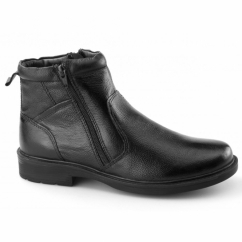 STREET 03 Mens Twin Zip Leather Warm Ankle Boots Black