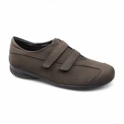 THYME Ladies Velcro Wide Fit Casual Suede Shoes Brown