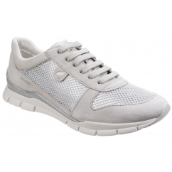 Geox SUKIE Ladies Lace Up Suede Trainers Ivory
