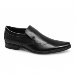 SULTAN Mens Leather Pointed Slip-On Shoes Black