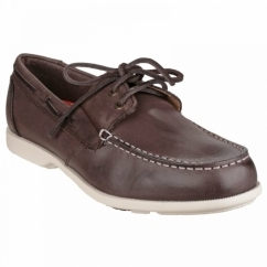 SUMMER SEA 2 EYE Mens Leather Boat Shoes Dark Brown