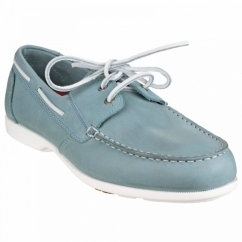 SUMMER SEA 2 EYE Mens Leather Boat Shoes Light Blue