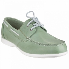 SUMMER SEA 2 EYE Mens Leather Boat Shoes Light Green