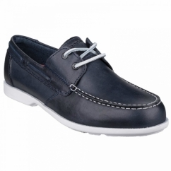 SUMMER SEA 2 EYE Mens Leather Boat Shoes Navy