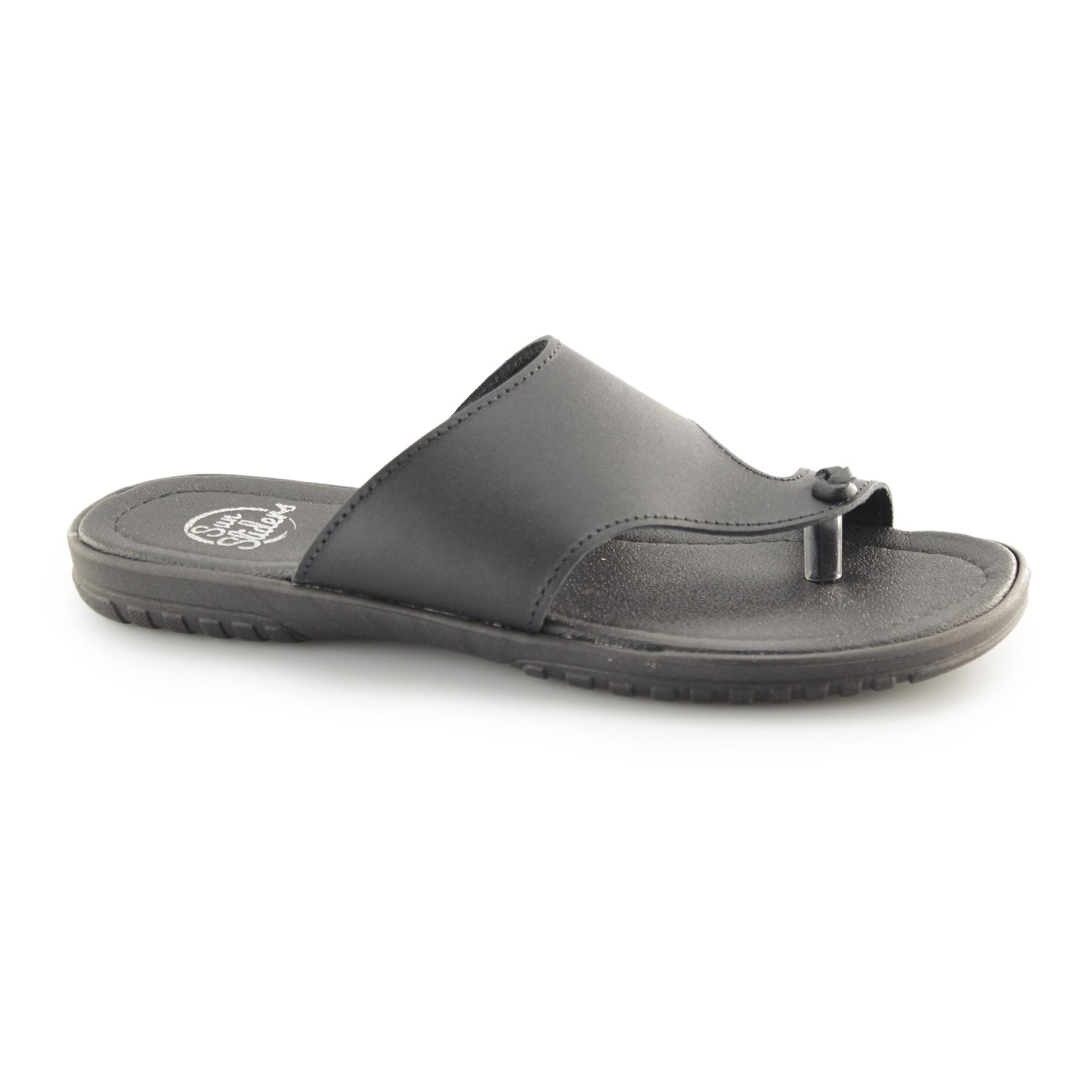 255b105bc70e Sun Sliders SAVIO Mens Leather Toe Post Mule Sandals Black