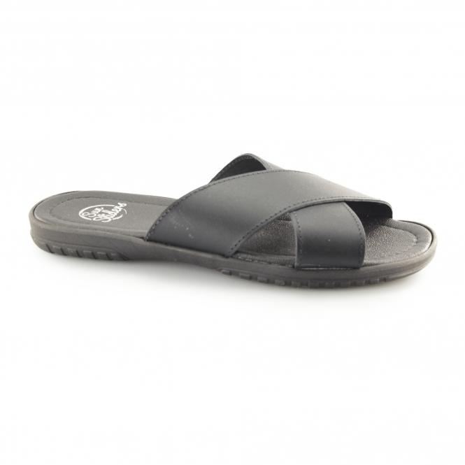 75aa20e64dd88 Sun Sliders TIBER Mens Leather Cross Strap Mule Sandals Black | Shuperb