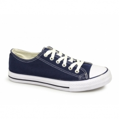 SUPER Unisex Lace Up Toe Cap Canvas Plimsolls Navy