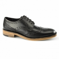 SURREY Mens Leather Goodyear Welted Brogue Shoes Black