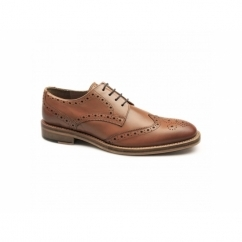 SURREY Mens Leather Goodyear Welted Brogue Shoes Tan