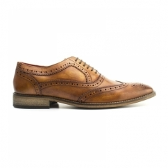 SURREY Mens Washed Leather Oxford Brogues Tan