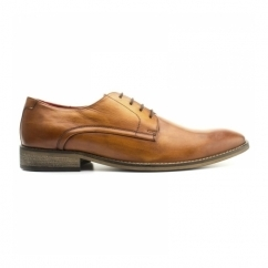 SUSSEX Mens Washed Leather Derby Shoes Tan