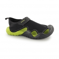 Crocs SWIFTWATER Mens Sandals Black/Volt Green