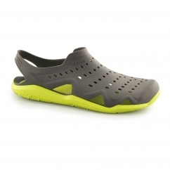 Crocs SWIFTWATER WAVE Mens Croslite Sandals Graphite/Volt Green